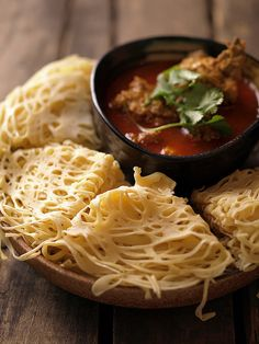 Roti jala with curry