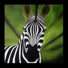 Cebra vigilante - Óleo sobre tela - 60x60