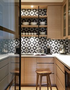 Open Shelving On Graphic Tile