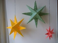 Paper Stars ~ make 2 stars by folding and cutting origami paper and glue them together. By Kathrin at Annekata Holiday Crafts, Fun Crafts, Christmas Crafts, Crafts For Kids, Arts And Crafts, Christmas Decorations, Christmas Ornaments, Christmas Stars, Star Decorations