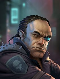 shadowrun; male; ork; googles; braid hairstyle