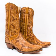 Lucchese hand-tooled goatskin cowboy boots