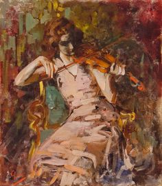 Woman playing a violin. Vincenzo Irolli (Italian, 1860-1949). Along with maternal figures, portraits of children and colorful scenes of everyday life, Irolli also depicted religious subjects, as in the ten works presented at the Mostra di Arte Sacra of 1936 in Naples.