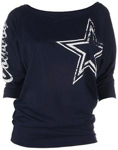 Featuring dolman sleeves and a soft jersey construction, this women's Dallas Cowboys tee keeps you comfortable as you cheer on your team. In navy. Product Features Distressed team graphics Scoopneck 3/4-length sleeves Fabric & Care Cotton/polyester Machine wash Imported
