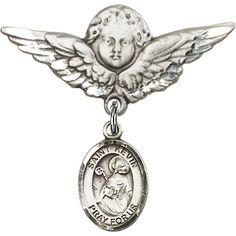 Sterling Silver Baby Badge with St. Kevin Charm and Angel w/Wings Badge Pin 1 1/8 X 1 1/8 inches -- For more information, visit image link.