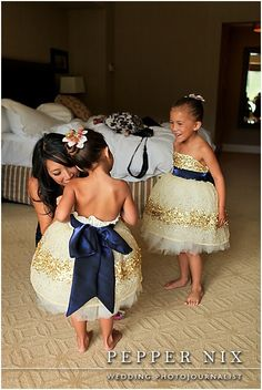 the most amazing flower girl dresses!!  Navy and Gold loveliness!