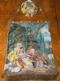 """Beaded Roccoco figural, after Francois Boucher's """"A Charmed Life"""", matching compact mirror"""