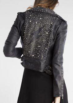 Dark Fashion, Leather Fashion, Boho Fashion, Womens Fashion, Embroidered Leather Jacket, Studded Leather Jacket, Custom Denim Jackets, Looks Style, My Style