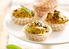 Cupcakes de pommes de terre aux olives noires et à la sauge