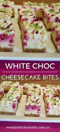 These Lime White Chocolate Cheesecake Bites are the perfect mix of sweet and tangy, with hints of lime, fresh raspberries, and delicious white chocolate. Bite Size Desserts, Mini Desserts, No Bake Desserts, Delicious Desserts, Dessert Recipes, Yummy Food, Fun Food, Cheesecake Tarts, Raspberry Cheesecake