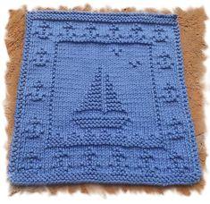 Ravelry: Sailing pattern by Lisa Vienneau noppen Sailing pattern by Knitwits Heaven Knitted Squares Pattern, Knitted Dishcloth Patterns Free, Knitting Squares, Knitted Washcloths, Crochet Dishcloths, Knitted Blankets, Loom Knitting, Knitting Stitches, Baby Knitting