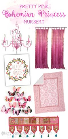 Pretty Pink Bohemian Princess Nursery. Bohemian nursery, boho baby room, bohemian girl's room. #boho #bohemian