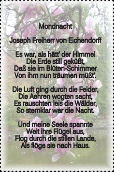 Mondnacht - Joseph von Eichendorff Es war als haet der Himmel die Erde still gekuesst dass sie im Bluetenschimmer....