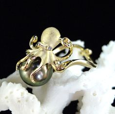 Denny Wong 14K Octopus Ring with Cultured Tahitian Pearl