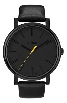 Timex 'Easy Reader'  A single dash of neon sparks the secondhand of a bold, blacked-out watch with a minimalist aesthetic.  Buckle closure.  Approx. band length: 150mm adjustable to 205mm.  Approx. band width: 20mm.  Approx. case diameter: 42mm.  INDIGLO lighting.  Water-resistant to 3 ATM (30 meters).  Leather/brass/black ionic plating/mineral crystal.  By Timex;