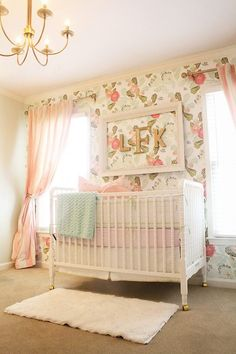 beautiful baby girl nursery with floral wallpaper & jenny lind crib. I just love the fabric and letters in the frame on the wall - in-the-corner