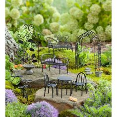 Mini Fairy Garden Metal Furniture Set | Plow & Hearth