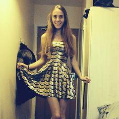 Lashes Gold Reversible Skater Dress - Black Milk Clothing