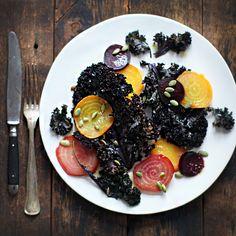 // Roasted Kale and Beets with Honey-Horseradish Vinaigrette