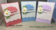CASE'd from Tanya Rees Stitched Lace Dies by Stampin' Up! Medium Daisy Punch by Stampin' Up! #nancysniftynotes Box Of Sunshine, Card Making Kits, Glue Dots, Some Cards, The 5th Of November, Wax Paper, Paper Pumpkin, Ink Pads, Card Kit