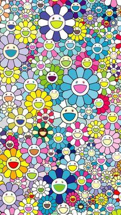 I Wallpaper, Aesthetic Iphone Wallpaper, Flower Wallpaper, Aesthetic Wallpapers, Wallpapers For Mobile Phones, Free Hd Wallpapers, Takashi Murakami Art, Murakami Flower, Doodle Drawings