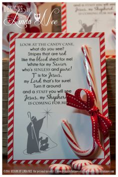 Legend of the Candy Cane - Card for Witnessing at Christmas - Jesus is the Reason for the Season - Printable Party Packages - Christian Legend of the Candy Cane - Printable 5 x 7 cards with poem that you can give away as gifts. They are also perfect for w Christmas Projects, Holiday Crafts, Christmas Holidays, Christmas Decorations, Christmas Ornaments, Christmas Packages, Christmas Candy Crafts, Christmas Party Favors, Candy Cane Christmas