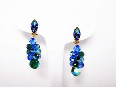 New Listings Daily - Follow Us for UpDates -  Dangling Green & Blue Earrings - Designer Signed Lewis Segal Clip Ons - Cluster of Green and Blue Aurora Borealis Beads - #Vintage 1980's offered by #TheJewelSeeker on Etsy. ... #vintage #jewelry #teamlove #etsyretwt #ecochic #thejewelseeker