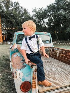 Navy suspenders and navy bow tie for ring bearer outfit Wedding Outfit For Boys, How To Dress For A Wedding, Wedding Attire, Our Wedding, Dream Wedding, Wedding Ideas, Country Wedding Groomsmen, Wedding Gifts, Wedding Planning