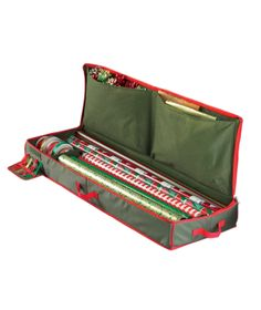 Corral all your holiday wrapping supplies within this festive, soft-sided box. With pockets for bows and bags, slots for ribbon spools, and a section for rolls a-plenty, everything you need will be right at hand.