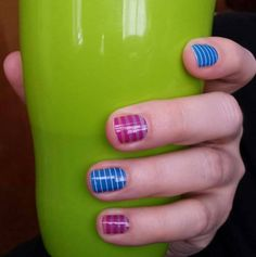 I think It's Complicated is my new favorite Jamberry design! They have purple stripes over a clear ombre design that fades from blue to orange. New in the Spring/Summer catalog.  I think I love them, but I'm a sucker for stripes. What do you think of It's Complicated paired with Prep School? What would you pick to go with them? http://irulan13.jamberrynails.net/shop