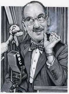 """""""You Bet Your Life"""" starring Groucho Marx. (This image was created as a limited edition print and features Groucho in 1960 at age -Illustrator D R E W Funny Caricatures, Celebrity Caricatures, Celebrity Drawings, Cartoon Faces, Cartoon Art, Funny Faces, Cartoon Drawings, Brothers Movie, Groucho Marx"""