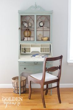 A beautiful Secretary Desk finished in Duck Egg Blue Chalk Paint® decorative paint by Annie Sloan | Allison of The Golden Sycamore!