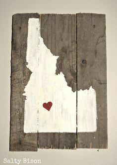 Handpainted Idaho Silhouette On Reclaimed Wood. $19.99, via Etsy.