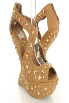 Tan Faux Leather Cutout Spiked Platform Curved Wedges