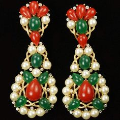 Trifari Gold Carnelian and Jade Cabochons and Pearls Giant Pendant Clip Earrings