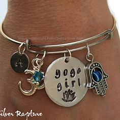 Yoga Girl Bangle, Silver Yoga Charm Bracelet inspired by Alex & Ani, Adjustable Hand Stamped Yoga Girl, Hamsa Charm Cuff Gift by SilverRapture on Opensky