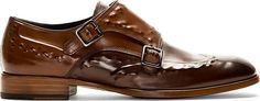 Alexander McQueen - Brown Studded Monk Strap Shoes