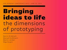 Bringing ideas to life – the dimensions of prototyping by Service Design Berlin, via Slideshare