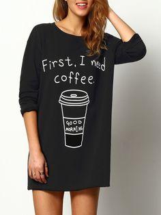 langes T-Shirt Rundhals mit Druck - schwarz