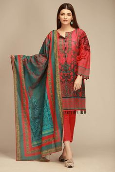 Khaadi Red Winter Collection 2018 Whatsapp: 00923452355358 Website: www. Pakistani Dresses Casual, Pakistani Dress Design, Casual Dresses, Fancy Dress Design, Stylish Dress Designs, Kurta Designs, Fancy Kurti, Dress Indian Style, Indian Wear