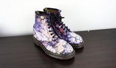 b1dc0a82da0 Vintage Floral Dr. Martens UK 7 US 9, 1990s Rare Doc Marten Boots as worn  by Sienna Miller, Classic Grunge Boots, Feminine