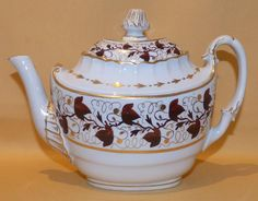 """This porcelain teapot , was made at Worcester , circa 1792-1804 , and bears the incised Worcester B mark , on the base . It is handpainted with brown leaves and enriched with gilding . It stands at 7"""" high and measures 9 1/4"""" from the spout to the handle . There is a fine crack across the base , this goes through to the inside and a flat chip on the inside edge of the cover , there is no other damage and the gilding is good . Please see my other items for more from this service . 