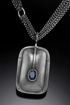 Sarah C Chapman - Shield Necklace, oxidized sterling silver & aquamarine