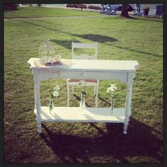 Distressed table and burlap chair from www.mashedevents.com.  Perfect wedding accessory/ signing table for signing your wedding register!