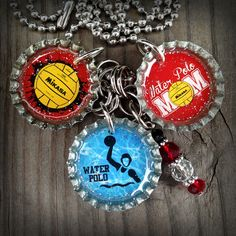 Red Waterpolo Mom Themed Bottle Cap Necklace