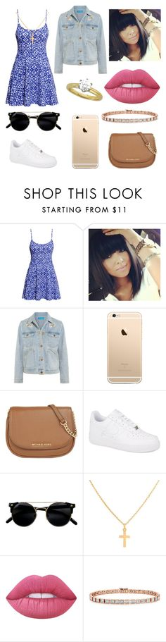 """""""Sem título #699"""" by mahceinha ❤ liked on Polyvore featuring H&M, M.i.h Jeans, MICHAEL Michael Kors, NIKE, Sterling Essentials, Lime Crime and Tiffany & Co."""