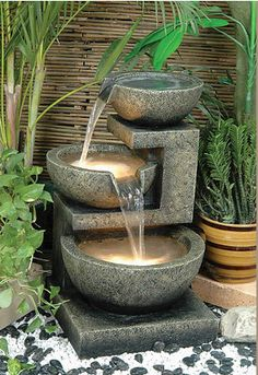 Cascading 3 Tier Modern Rock Water Fountain | TheDecoratingDiva.com
