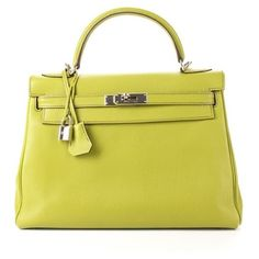 Hermes Pre-Owned Hermes Vert Anis Clemence Retourne Kelly 32cm Bag (536.785 RUB) ❤ liked on Polyvore featuring bags, handbags, green, hand bags, yellow handbags, genuine leather purse, leather purses and hermes handbags