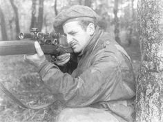 British Sniper 2, WWII, British Private Francis Miller, posing with his Enfield Rifle. As the sole survivor of his sniper section, he was universally known as 'Borrowed Time'.