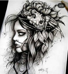 Tattoos for women – image ideas - diy tattoo images Tatuajes Tattoos, Bild Tattoos, Body Art Tattoos, Cool Tattoos, Tatto Skull, Backpiece Tattoo, Indian Skull Tattoos, La Muerte Tattoo, Catrina Tattoo